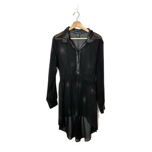 LIVING DOLL Sheer Black Sparkle Goth Shirt Dress